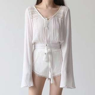 Off White Bohemian Crotchet Flare Sleeves Cropped Top
