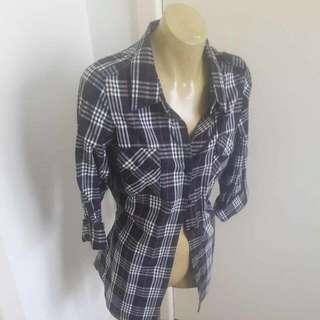 Jay Jays Black & White Tartan Shirt Size M