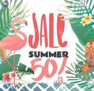 50% off all clothes and shoes this weekend