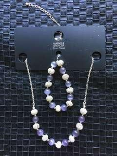 M&S Silver Plated purple necklace and bracelet set.