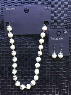M&S Autograph Pearl necklace and earrings set
