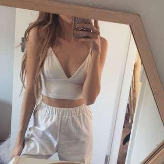 Kookai White triangle crop