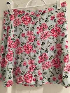 Rose button up skirt