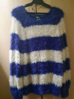 Striped Blue and White Fur Winter Longsleeves