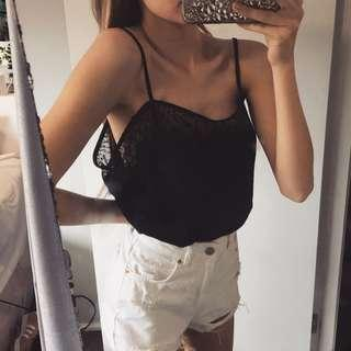 THE CUTEST BLACK SILK FEEL CAMI