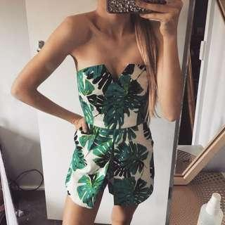 GREEN LEAF PRINT PLAYSUIT