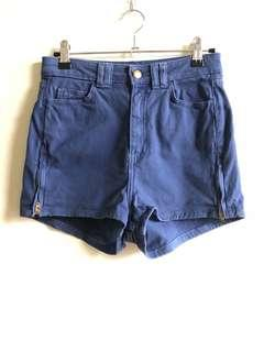 American Apparel blue high waist shorts