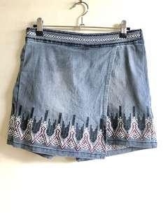 Fashion Organization embroidered denim skort