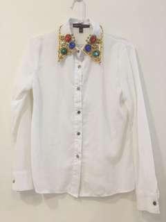 寶石領雪紡造型襯衫