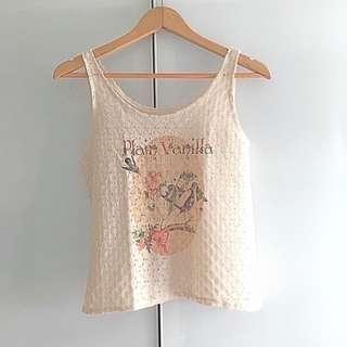 $5 SALE: Plain Vanilla Beige Lacy Top (do you see this marked sold? no. then OBVIOUSLY ITS AVAILABLE)