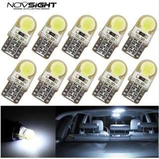 NOVSIGHT T10 LED Car Led Bulbs 194 168 W5W COB 8 SMD LED Silica Bright White/Red/Purple/Blue Pole/License/Cabin Light Bulb White 12V (p.k.a NIGHTEYE)