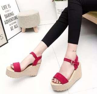 🚚 INSTOCK Pink Buckled High Heels Wedges Sandals