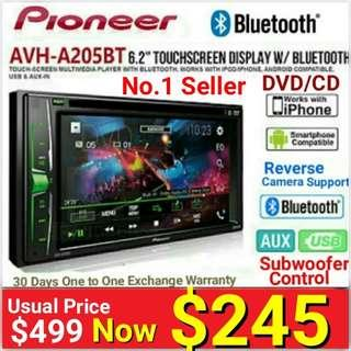 "Pioneer No.1 Best Selling Model -  6.2"" Bluetooth Touchscreen DVD/CD/USB(MP4)/FM player + 13 Equalizer+ with Reverse Camera Support. Model: AVH-A205BT (30 days one to one exchange warranty) . Usual Price: $499.90 New Low price: $245."
