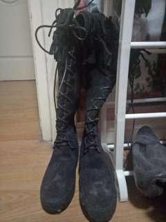 Knee high black combat boots