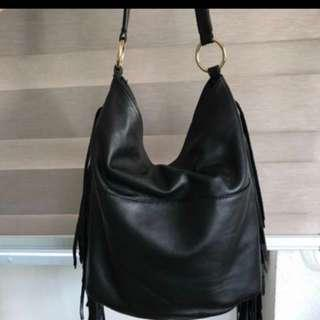 Price reduced! Genuine leather black large hobo bag