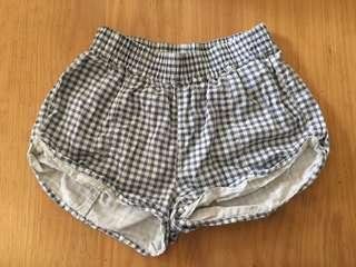 Checked booty shorts