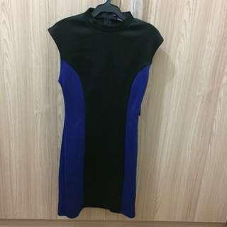 Forever 21 Black Royal Blue Bodycon Dress