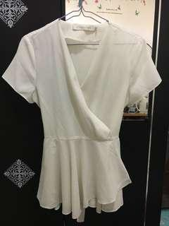 Atmosphere White Top with Waist Tie