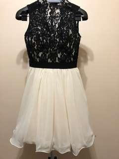 ASOS- Lace top black and cream dress