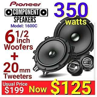 Pioneer Component Speakers System (2 x woofer speakers + 2 x tweeters) 350Watts. Model: Ts-A1600c. Usual Price: $199 Special: $125. ( Brand New in Box and Sealed)