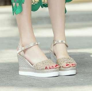 🚚 INSTOCK Sequin Buckled Platform Wedges Heels Sandals