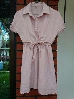 Dusty Pink Collared Ribbon Dress #3×100