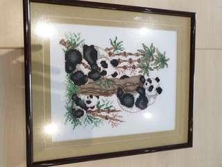 Panda art cross stitch
