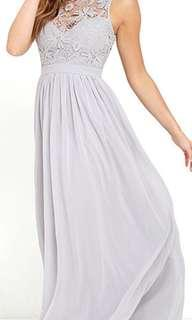 Lulus grey maxi dress new without tags