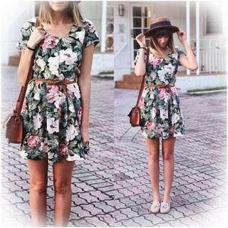 Floral print dress with woven belt