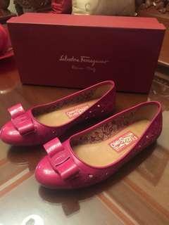 Salvatore Ferragamo Pink Varina Leather Laser Cut Out Ballet Flats