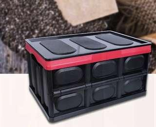 Foldable/ collapsible plastic storage container with lid, folding plastic box