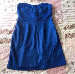 🚚 Urban Outfitters cobalt blue satin dress size M