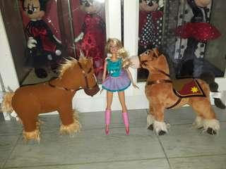 PLUSH & BARBIE DOLL SET (selling as set only)
