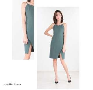 Zoella Dress in Green (Workwear) from Ninth Collective