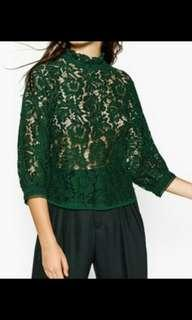 Zara Green Lace Top
