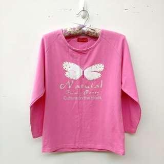 🚚 粉紅色蝴蝶長袖上衣