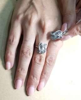 diamond ring and pendant, 18k white, jewelry