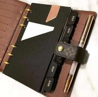 Black Admin Pocket Folder - insert A6 personal agenda planner