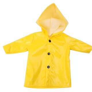 Clothes For Dolls Fits 18 Inch American Doll And Baby Born BJD Doll Yellow Raincoat