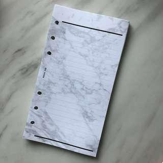 A6 Personal - Lined Planner Insert - Marble