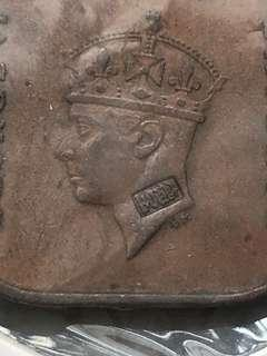 Malaya counterstamped 1c coins