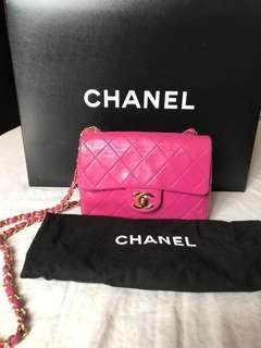 Chanel lambskin mini single flap in gold hardware