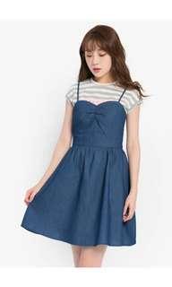 Denim crossover dress