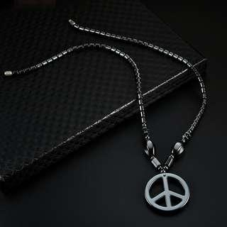 Magnetic Artificial Hematite Peace Necklace