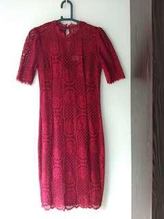 (⬇️PRICE ) DIVALICIOUS Red Lace Dress