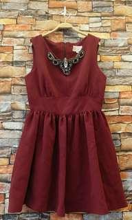 🚚 正韓暗紅俗洋裝