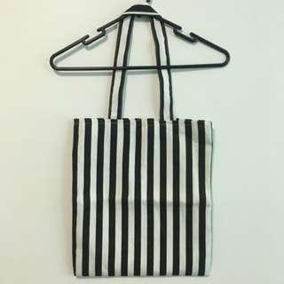 Everyday Use Black and White Vertical Striped Tote Canvas Bag