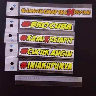 (NEW) Bike Stickers - Melayu/ Malay Phrases Sticker Stickers