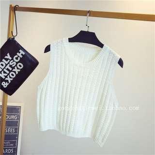 Knit Crop Top, White