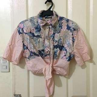 anxiety floral crop polo top
